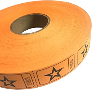1 X 2000 Orange Star Single Roll Consecutively Numbered Raffle Tickets