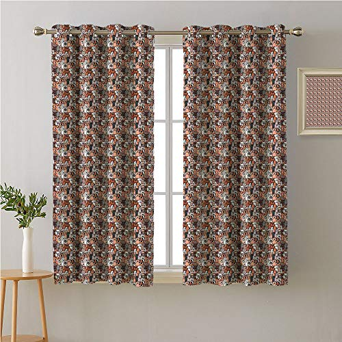 (Jinguizi Cats Grommet Curtain Darkening Blackout,Animals in Brown Tones Doodle Style Happy Pets Puppies and Kittens in Cartoon Design,Light Darkening Curtains,72W x 45L)