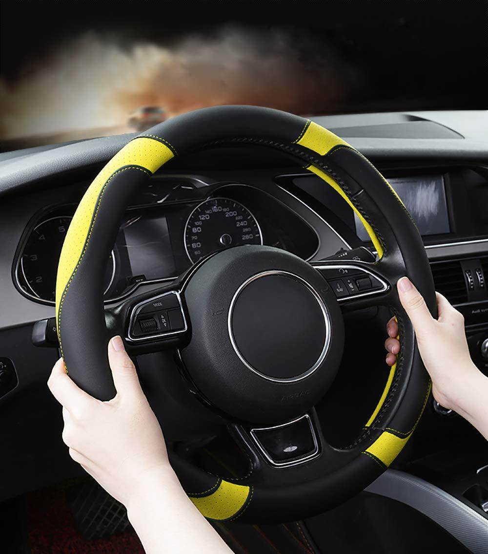 Amarillo 15 Antideslizante Transpirable Durable SFONIA Cubierta del Volante Fundas para Volante de Cuero del Microfibra Universal 37-38cm