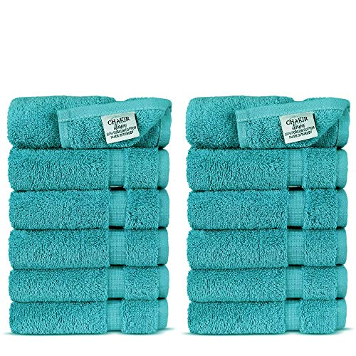 Chakir Turkish Linens Turkish Cotton Luxury Hotel & Spa Bath Towel, Wash Cloth - Set of 12, Aqua (Linens Walmart Bath)