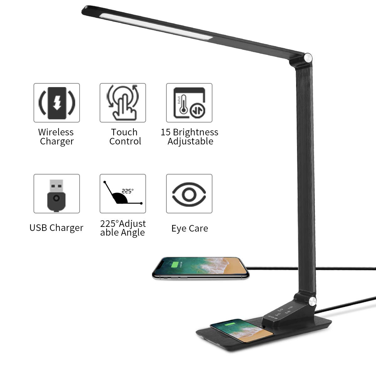 Led Desk Lamp Wireless Charging,Eye-caring Foldable Table Lamp,Dimmable Metal Office Lamp with USB Port,QI,Touch Control,Memory Function for Reading, Studying, Working,Living Room,Bedroom