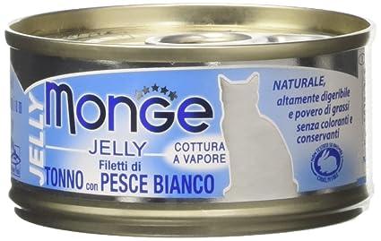 Monge Jelly – Comida para Gatos, roscas de Tonno con Pescado Blanco, 80 g