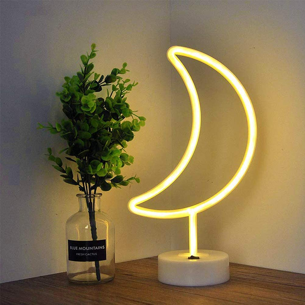 Fiee Moon Shaped Neon Signs,Led Safety Art Wall Decoration Lights Neon Lights Night Table Lamp with Battery Powered/USB for Kids Gift,Baby Room,Wedding(Warm White Moon)