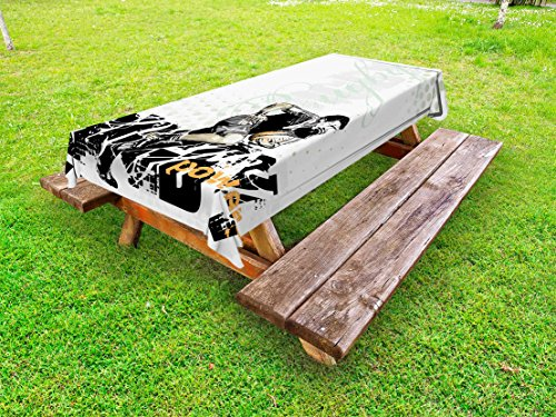 Lunarable Sports Outdoor Tablecloth, Sketchy Rugby Player with a Ball Running Power Muscular Strength Challenge, Decorative Washable Picnic Table Cloth, 58 X 104 Inches, Black White Orange ()
