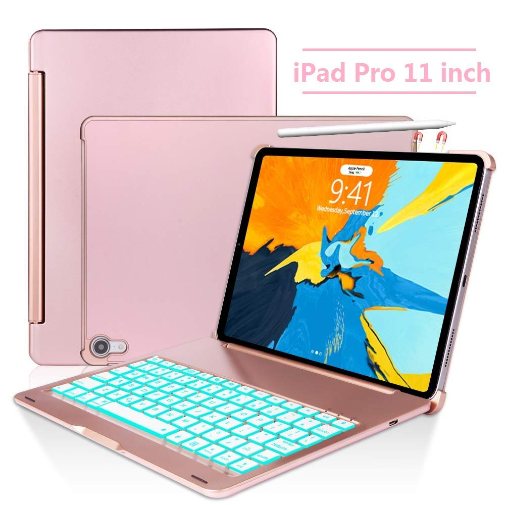 Keyboard Case for iPad Pro 11,130 Degree Rotation, 7 Color Backlit Keyboard