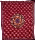 Luna Bazaar Mira Bohemian Mandala Tapestry, Wall Hanging, and Bedspread (Large, 7 X 8 Feet, Red, 100% Cotton, Fair Trade Certified)