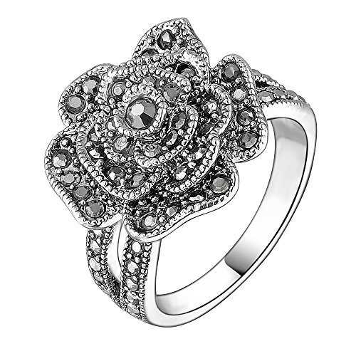Mytys Vintage Fashion Flower Ring Rose Ring Black Marcasite Stones Paved Statement Rings for Women Girls Silver Plated