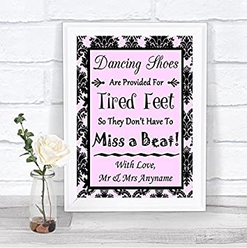 599327be3f9c6f Image Unavailable. Image not available for. Color  Baby Pink Black Damask  Dancing Shoes Flip-Flop Tired Feet Personalized Wedding Sign