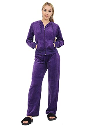 d9cbb060e9 Womens Velour 2 - Piece Tracksuit Hooded Top Jacket Trousers Ladies  Tracksuits