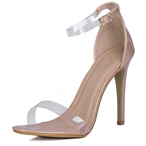 221524e860348 Amazon.com: Open Peep Toe Barely There High Heel Stiletto Sandals ...