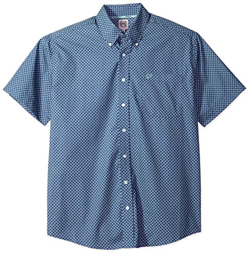 Cinch Men's Classic Fit Short Sleeve Button One Open Pocket Print Shirt, Navy/Light Blue, L (Cinch Mens)