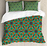 Orange Duvet Cover Set by Ambesonne, Living Room Decor for India Ethnic Design Lovers Floral Print, 3 Piece Bedding Set with Pillow Shams, King Size, Fern Green Marigold and Navy Blue