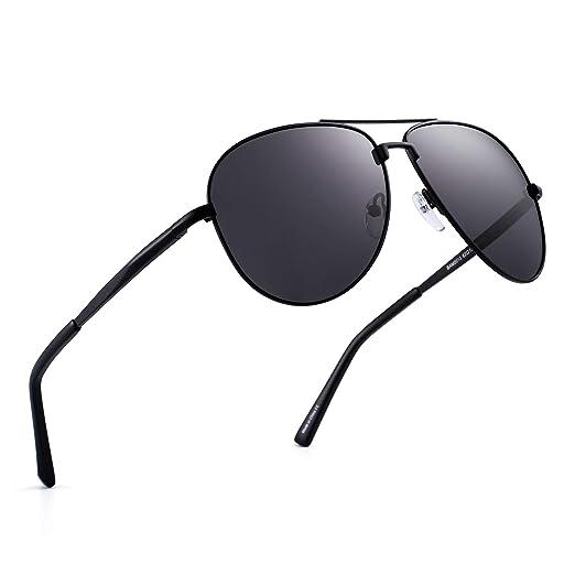 d311971e9 Polarized Aviator Sunglasses Retro Metal Driving Pilot Glasses Men Women ( Black/Polarized Grey)