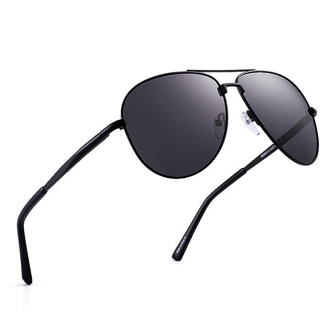 a844e01695 Polarized Aviator Sunglasses Retro Metal Driving Pilot Glasses Men Women  (Black Polarized Grey)