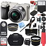 Sony Alpha a6000 Silver Interchangeable Lens Camera 16-50mm Power Lens + 64GB Accessory Bundle + DSLR Photo Bag + Extra Battery + Wide Angle Lens+2x Telephoto Lens + Flash + Remote + Tripod