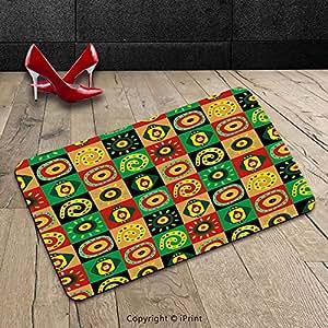 Custom lavable Felpudo (African Tribal primitivo abstracto figuras con papel formas cultura Hieroglyph Artsy impresión multicolor interior/al aire libre Felpudo alfombra alfombra alfombra