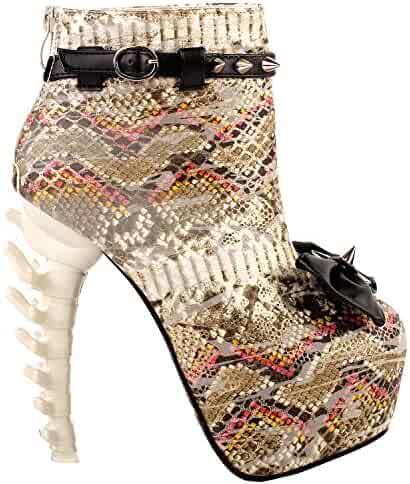 f14e57d9bf25 SHOW STORY Punk Snake Skin Print Bow Stud Buckle Bone Heels Platform Ankle  Boots