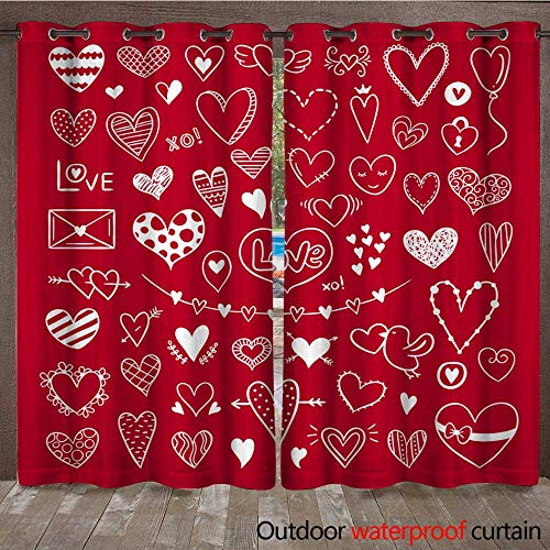 - RenteriaDecor 0utdoor Curtains for Patio Waterproof Hand Drawn Hearts Illustrations for Valentine s Day and Weddings Cute Love Clipart W72 x L108