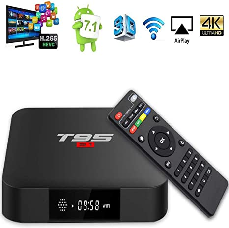 DOOK Android 7.1 TV Box, T95 S1 Smart Box 1GB RAM 8GB ROM S905W Quad-Core cortex-A53 Mali-450 GPU Reproductor Multimedia 2.4GHz WiFi 4K H.265 100M Enternet con USB 2.0 Caja de Televisor: