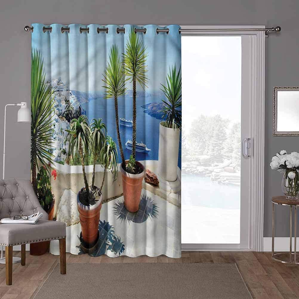 YUAZHOQI Soundproof Room Divider Curtains, Travel,Summer Vacation in Santorini, W100 x L96 Inch Privacy Blinds for Patio(1 Panel)