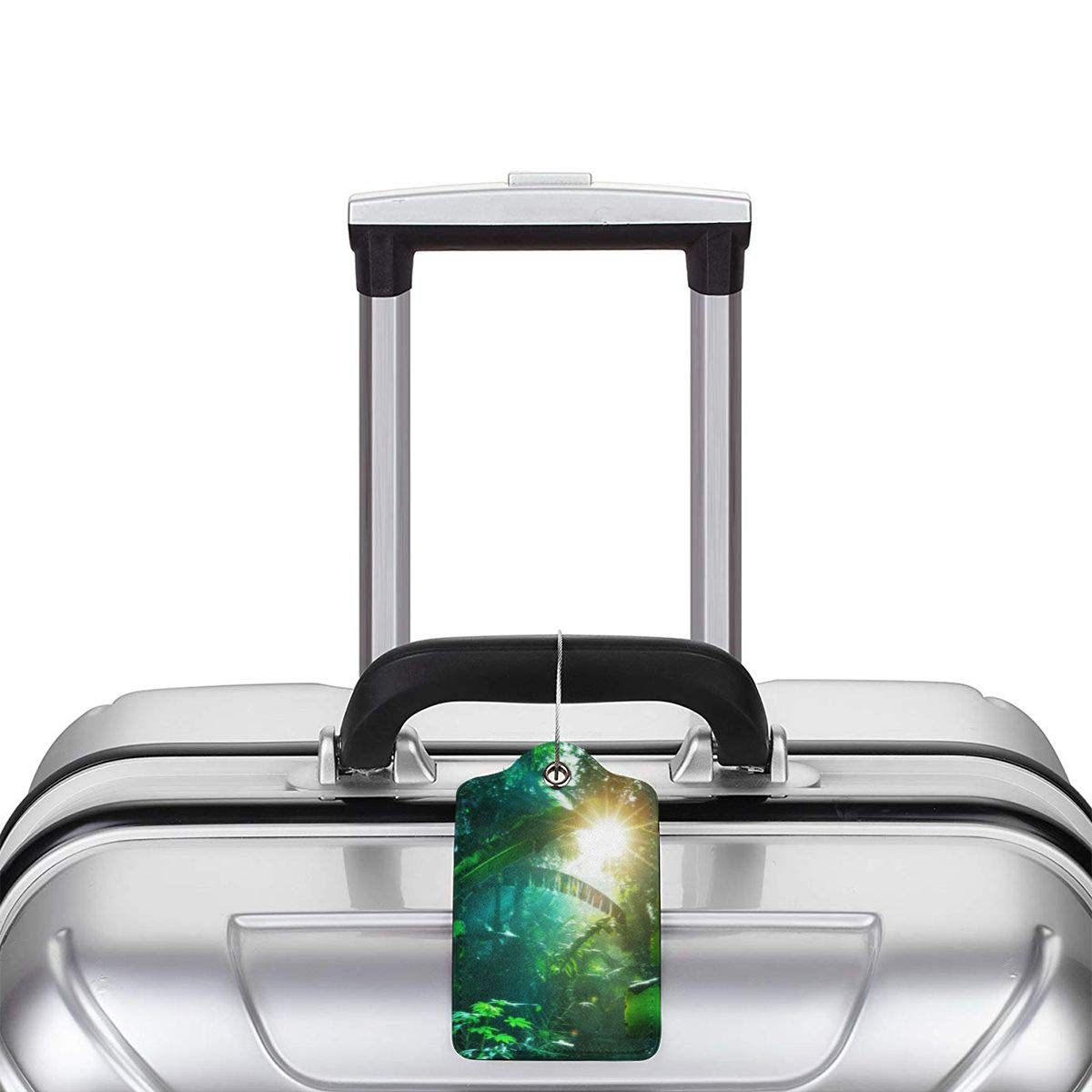 Tropical Jungle Green Banana Leaves Plants Forest Luggage Tag Label Travel Bag Label With Privacy Cover Luggage Tag Leather Personalized Suitcase Tag Travel Accessories
