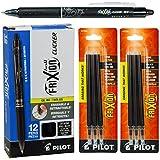 Pilot Frixion Clicker Erasable Black Gel Ink Pens, 12 Pens with 2 Packs of Refills