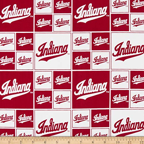Sykel Enterprises NCAA Indiana Box All Over Cotton Broadcloth Red/White Fabric Fabric by the Yard