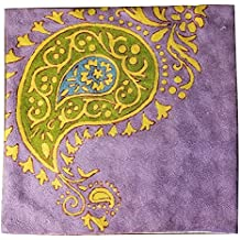 "MII HANDICRAFTS Exclusive Hand Made Woolen Embroidery Throw Cushion Cover Decorative Square - Paisley 18""X18"" Warm Wool Thanksgiving Gift"