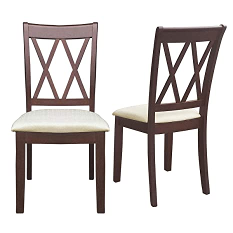 Amazon.com: Giantex - Juego de 2 sillas de comedor de madera ...
