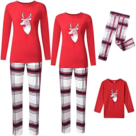 Christmas Family Matching Pajamas Set Elk Long Sleeve Shirt and Plaid Pants Sleepwear for The Family Boys and Girls