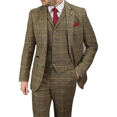f2bcea77cc20 Cavani Albert 3 Piece Suits Check Tweed Regular Fit Blazer Brown Check UK  38 = 48