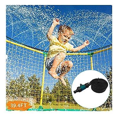 39.4ft Trampoline Waterpark Sprinkler Best Outdoor Summer Toys for Kids Outside (Black): Kitchen & Dining