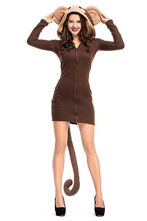 Redjade Cozy Monkey Kapuzenpullover Sweatshirt Pullover Damen Mini