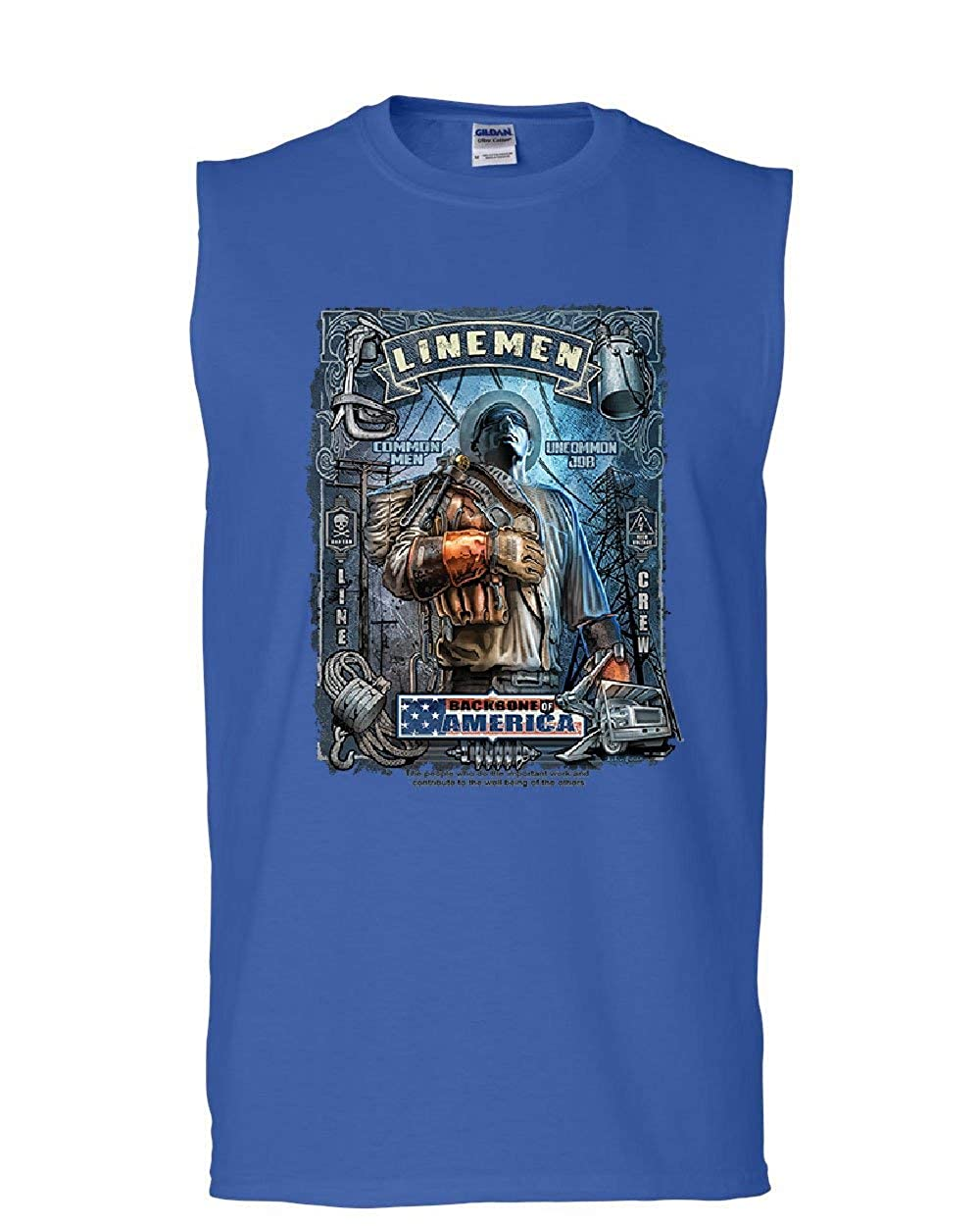 Linemen Backbone of America Muscle Shirt Lineworker Blue Collar Work Sleeveless