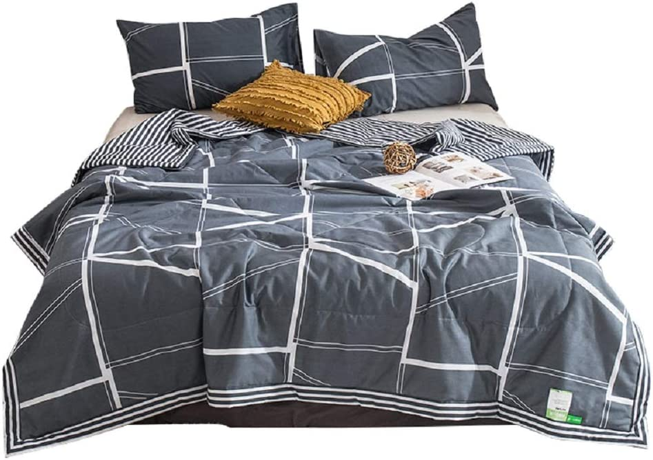 NATURETY 100 Cotton Bed Quilts,Thin Comforter for Summer or Spring Twin, Gray