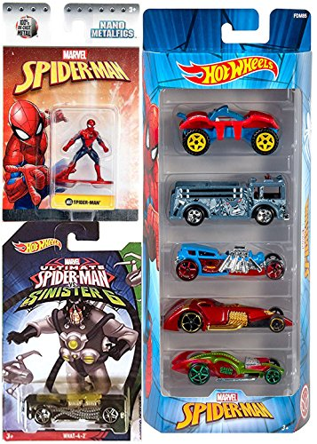 Spider-Man car Figure Pack Hot Wheels Series Buggy Rider / Rhino Fire Truck / Street Creeper/ Green Goblin & Mini Metal figure + Sinister 6 Exclusive Doctor Octopus What-4-2 - Ride In A Fire Truck Costumes