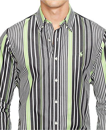 Sateen Oxford (Polo Ralph Lauren Men's Striped Sateen Shirt, Kiwi/Black, Small)