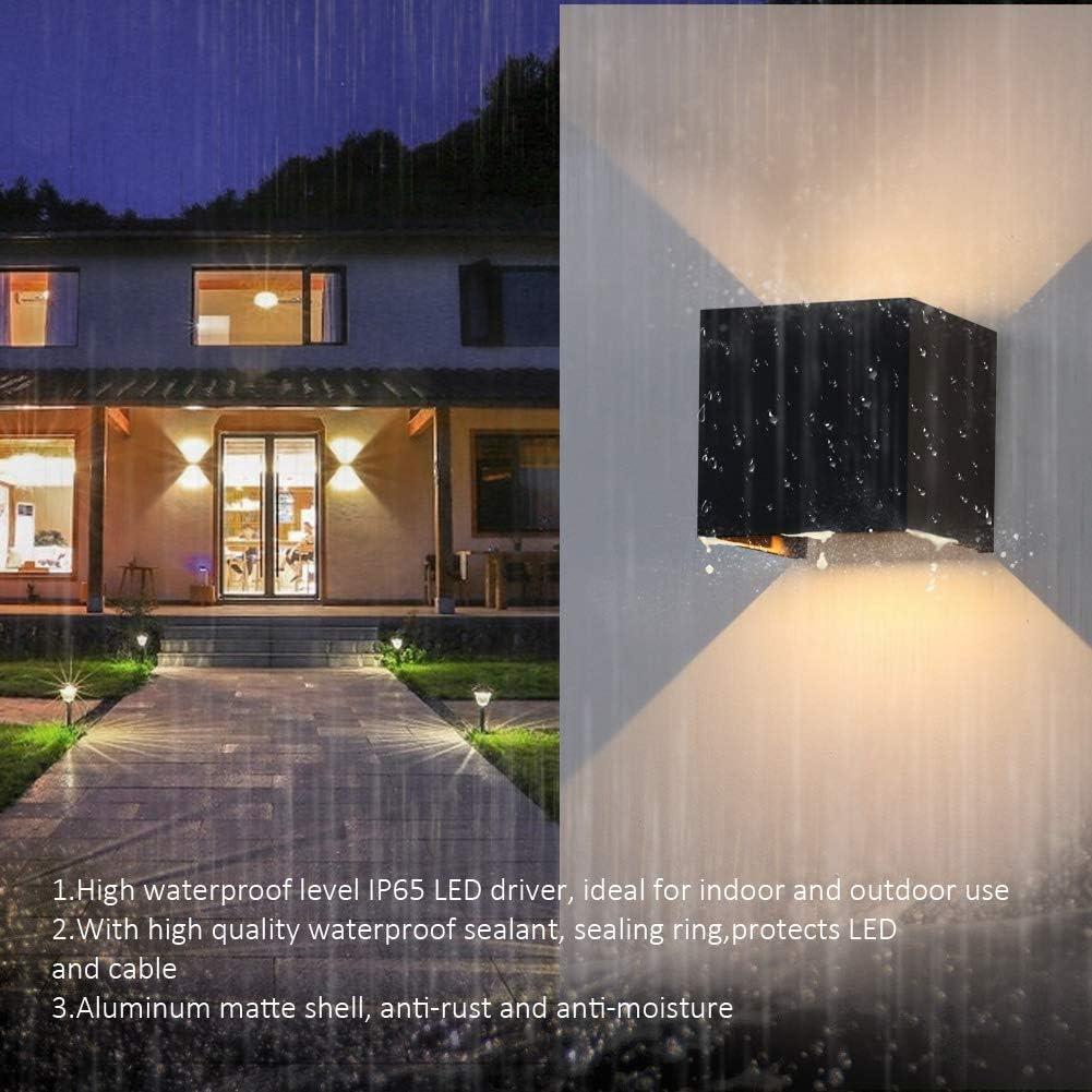 K-Bright 7W Aussenleuchte,3000K Warmwei/ß Aussenlampe Wandleuchte 3.9X3.9X3.9 Zoll Wandlampe aus Aluminium,grau