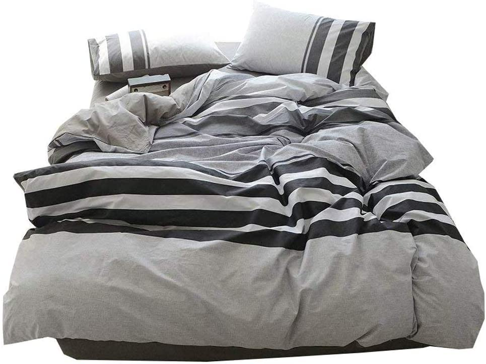 3 Piece Cotton Striped Duvet Cover Set Twin Hotel Quality Reversible Luxury Bedding Set Lightweight Kids Men Boys Duvet Comforter Cover Set for Teens Adults Modern Twin Bedding Collection