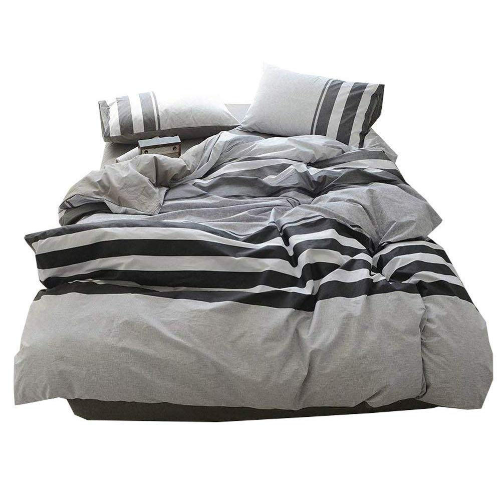 Modern Striped Cotton Duvet Cover Set Queen Reversible Luxury Full Bedding Set 3 Piece Hotel Quality Men Boys Duvet Comforter Cover Set for Teens Adults Queen Bedding Collection Full Size