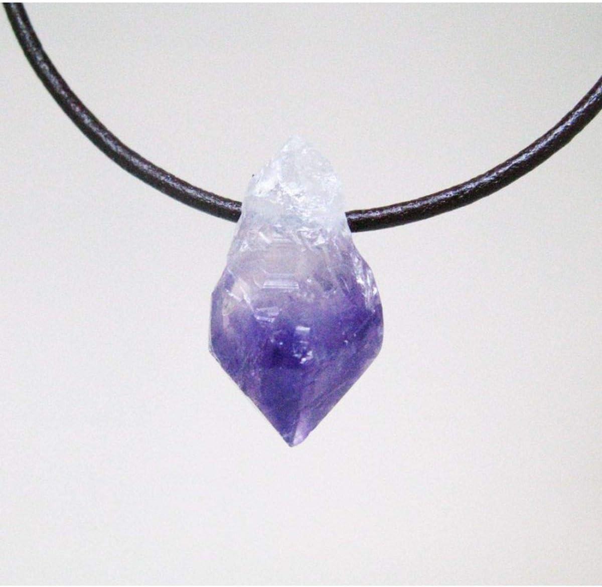 Colgante Punta de Amatista en Bruto con Agujero Minerales y Cristales, Belleza energética, Meditacion, Amuletos Espirituales