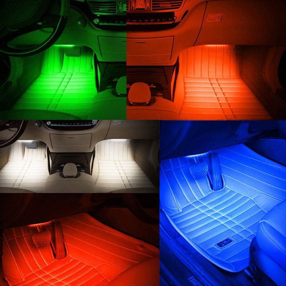VISLONE Luci LED Auto Interne 4 Modalit/à Musica LED Luce Atmosfera Telecomando Alimentato da accendisigari 4 Strisce 36 Lampadine Multicolore Impermeabili 4X9 LED 12V