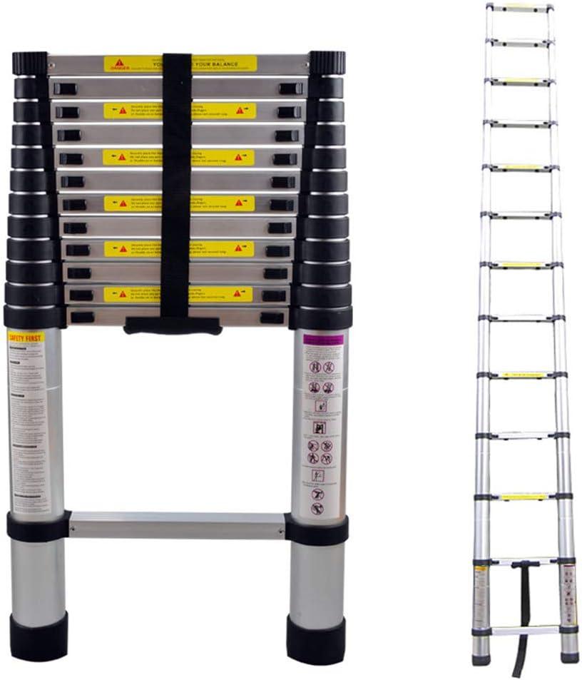 13 Sprossen 150 kg Belastbarkeit 87cm bis 3,8m Anlegeleiter LZQ Teleskopleiter 3,8m Alu Ausziehleiter Mehrzweckleiter