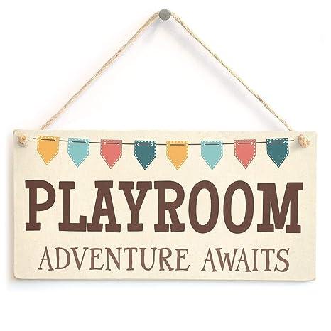 Amazon.com: Playroom Adventure Awaits - Carteles de madera ...