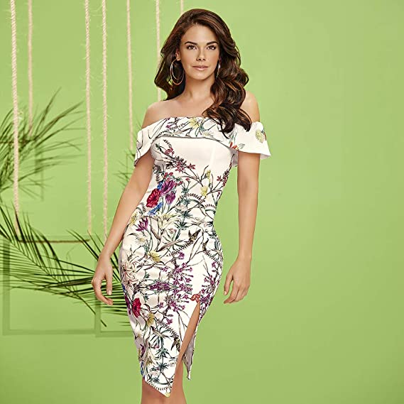 49c31653b cklass Vestido Midi Estampado Multicolor XL  Amazon.com.mx  Ropa ...