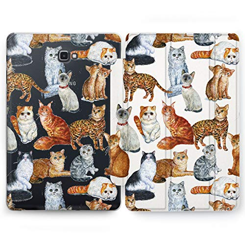 Wonder Wild Kitty Print Samsung Galaxy Tab S4 S2 S3 A E Smart Stand Case 2015 2016 2017 2018 Tablet Cover 8 9.6 9.7 10 10.1 10.5 Inch Clear Design Pet Cat Animals Species Persian Siamese Maine Coon -