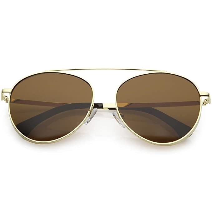 8a3e87002f Amazon.com  zeroUV - Polarized Oversize Round Aviator Sunglasses For Women  Metal Brow Bar Colored Mirror Lens 60mm (Gold Brown)  Clothing