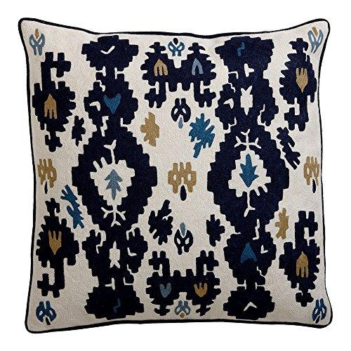 Ethan Allen Crewel Embroidered Ikat Pillow