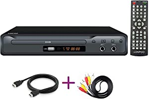 LONPOO DVD Player for TV, Region Free DVD CD Discs Player with HDMI & AV Output (HDMI & AV Cable Included), HD1080P, Built-in PAL/NTSC, Supports MIC/USB, Remote Control