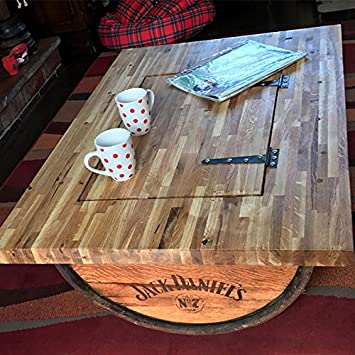 Cheeky Chicks Recycled Half Whisky Barrel Coffee Table With Solid